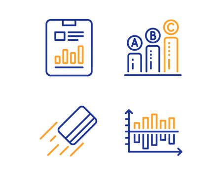Report document, Credit card and Graph chart icons simple set. Diagram chart sign. Page with charts, Bank payment, Growth report. Presentation graph. Education set. Linear report document icon