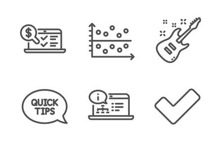 Dot plot, Electric guitar and Quickstart guide icons simple set. Online accounting, Online documentation and Tick signs. Presentation graph, Musical instrument. Education set. Line dot plot icon