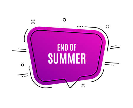 Speech bubble banner. End of Summer Sale. Special offer price sign. Advertising Discounts symbol. Sale tag. Sticker, badge. Vector Archivio Fotografico - 124076252
