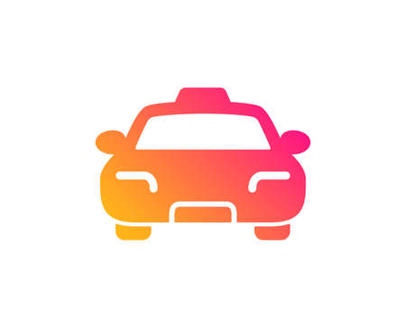 Taxi icon. Client transportation sign. Passengers car symbol. Classic flat style. Gradient taxi icon. Vector Illustration