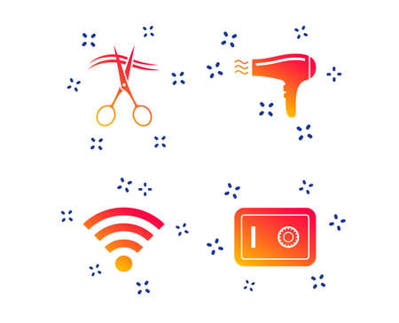 Hotel services icons. Wi-fi, Hairdryer and deposit lock in room signs. Wireless Network. Hairdresser or barbershop symbol. Random dynamic shapes. Gradient wifi icon. Vector