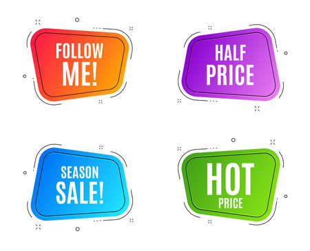 Geometric banners. Hot Price. Special offer Sale sign. Advertising Discounts symbol. Follow me banner. Clearance sale. Vector