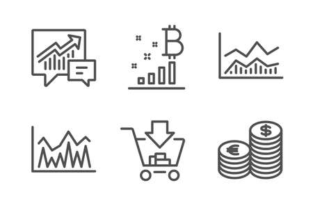 Investment, Accounting and Bitcoin graph icons simple set. Trade infochart, Shopping and Currency signs. Economic statistics, Supply and demand. Finance set. Line investment icon. Editable stroke