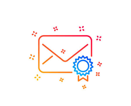 Verified Mail line icon. Confirmed Message correspondence sign. E-mail symbol. Gradient design elements. Linear verified Mail icon. Random shapes. Vector