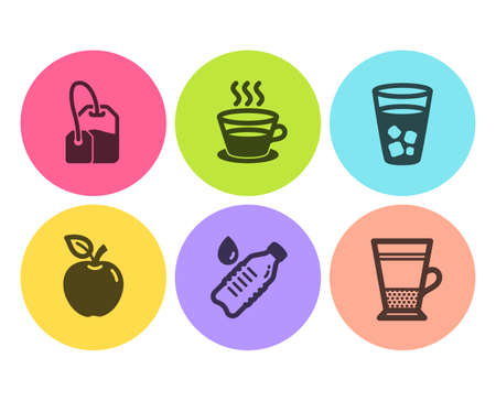 Ice tea, Apple and Coffee cup icons simple set. Tea bag, Water bottle and Double latte signs. Soda beverage, Fruit. Food and drink set. Flat ice tea icon. Circle button. Vector