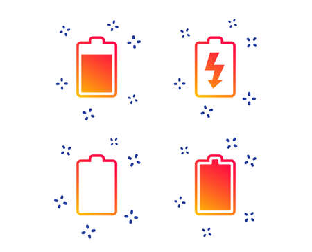 Battery charging icons. Electricity signs symbols. Charge levels: full, empty. Random dynamic shapes. Gradient battery icon. Vector