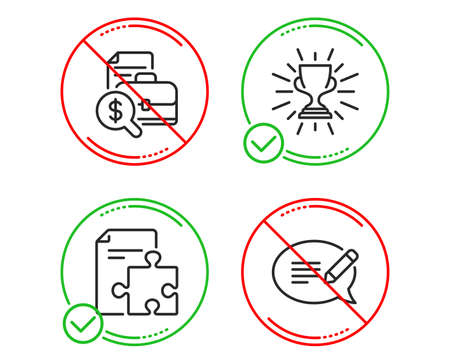 Do or Stop. Strategy, Trophy and Accounting report icons simple set. Message sign. Puzzle, Winner cup, Financial case. Speech bubble. Education set. Line strategy do icon. Prohibited ban stop. Vector  イラスト・ベクター素材