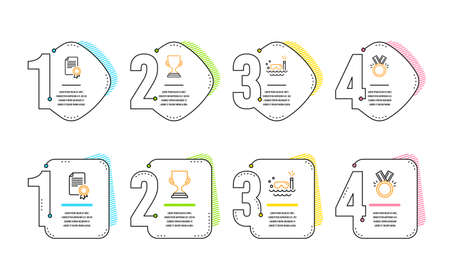Award cup, Scuba diving and Certificate icons simple set. Honor sign. Trophy, Trip swimming, Diploma. Medal. Sports set. Infographic timeline. Line award cup icon. 4 options or steps. Vector