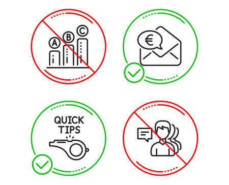 Do or Stop. Graph chart, Tutorials and Euro money icons simple set. People sign. Growth report, Quick tips, Receive cash. Support job. Line graph chart do icon. Prohibited ban stop. Good or bad Ilustração