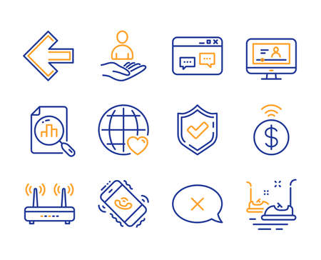 International love, Contactless payment and Wifi icons simple set. Online video, Recruitment and Confirmed signs. Browser window, Reject and Analytics graph symbols. Line international love icon Illustration