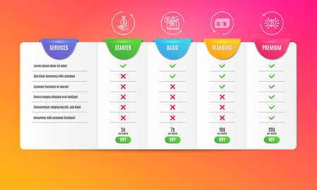 Payment, Travel loan and Income money icons simple set. Comparison table. Bitcoin system sign. Finance, Trip discount, Savings. Cryptocurrency scheme. Finance set. Pricing plan. Vector