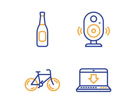 Speaker, Beer and Bicycle icons simple set. Internet downloading sign. Music sound, Pub alcohol, Bike. Load data. Business set. Linear speaker icon. Colorful design set. Vector Çizim