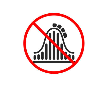 No or Stop. Roller coaster icon. Amusement park sign. Carousels symbol. Prohibited ban stop symbol. No roller coaster icon. Vector Иллюстрация