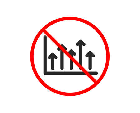 No or Stop. Growth chart icon. Financial graph sign. Upper Arrows symbol. Business investment. Prohibited ban stop symbol. No growth chart icon. Vector