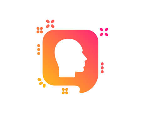 Head icon. Human profile speech bubble sign. Facial identification symbol. Classic flat style. Gradient head icon. Vector