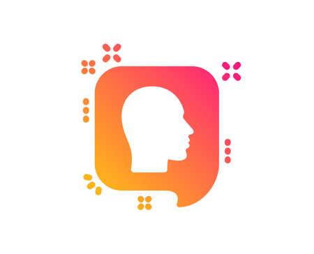Head icon. Human profile speech bubble sign. Facial identification symbol. Classic flat style. Gradient head icon. Vector