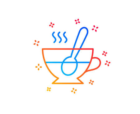 Cup with spoon line icon. Fresh beverage sign. Latte or Coffee symbol. Gradient design elements. Linear tea cup icon. Random shapes. Vector