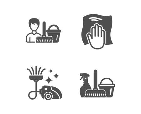 Set of Washing cloth, Vacuum cleaner and Cleaning service icons. Household service sign. Wipe with a rag, Vacuum-clean, Bucket with mop. Cleaning equipment.  Classic design washing cloth icon. Vector