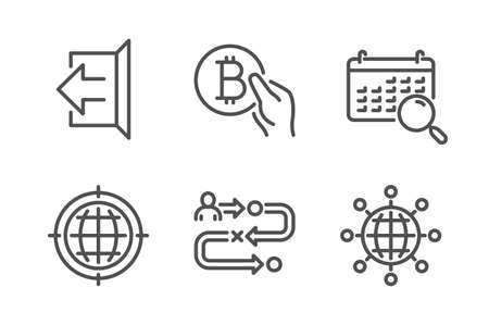 Search calendar, Seo internet and Journey path icons simple set. Sign out, Bitcoin pay and International globe signs. Find date, Globe. Technology set. Line search calendar icon. Editable stroke