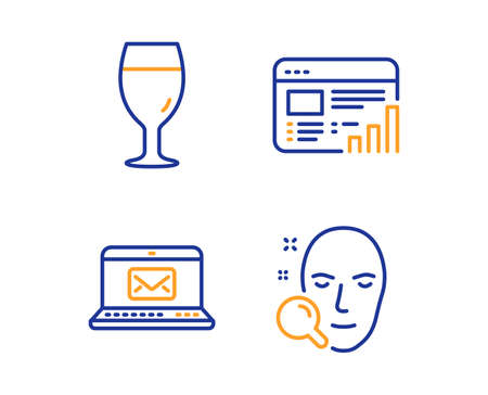Web report, E-mail and Beer glass icons simple set. Face search sign. Graph chart, New message, Brewery beverage. Find user. Linear web report icon. Colorful design set. Vector Banque d'images - 124076332