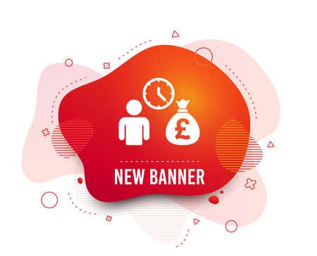 Fluid badge. Bank loans sign icon. Get money fast symbol. Borrow money. Abstract shape. Gradient loans icon. Flyer liquid banner. Vector Illustration