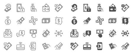 Payment wallet line icons. Set of Accept money transfer, Pay with Phone and Credit card by mail icons. Online payment, Dollar exchange and Fast money send. Private pay, Cash and Wallet. Vector