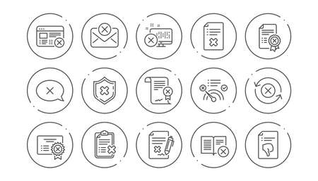 Reject line icons. Decline, Cancel and Dislike. Disapprove linear icon set. Line buttons with icon. Editable stroke. Vector Illustration