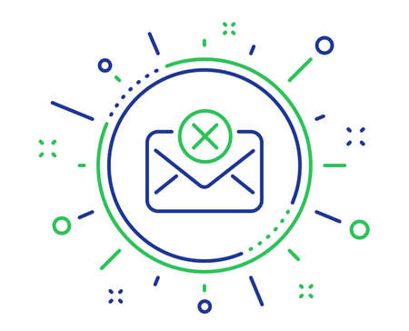 Reject mail line icon. Delete message sign. Decline web letter. Quality design elements. Technology reject mail button. Editable stroke. Vector