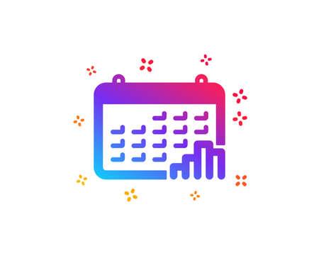 Calendar graph icon. Column chart sign. Growth diagram symbol. Dynamic shapes. Gradient design calendar graph icon. Classic style. Vector