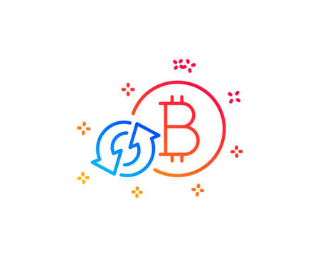 Bitcoin line icon. Refresh cryptocurrency coin sign. Crypto money symbol. Gradient design elements. Linear refresh bitcoin icon. Random shapes. Vector