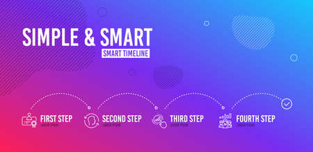 Infographic timeline. Certificate, Face id and Graph chart icons simple set. Teamwork results sign. Best employee, Identification system, Get report. Group work. People set. 4 steps layout. Vector
