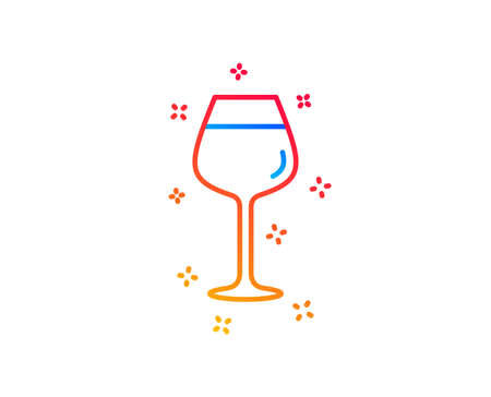 Wine glass line icon. Bordeaux glass sign. Gradient design elements. Linear bordeaux glass icon. Random shapes. Vector
