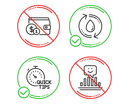 Do or Stop. Buying accessory, Quick tips and Refill water icons simple set. Smile sign. Wallet with coins, Helpful tricks, Recycle aqua. Positive feedback. Line buying accessory do icon. Vector Illustration