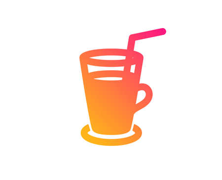 Coffee or Cocktail icon. Fresh drink sign. Beverage symbol. Classic flat style. Gradient cocktail icon. Vector