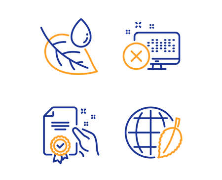 Reject access, Leaf dew and Certificate icons simple set. Environment day sign. Delete device, Water drop, Certified guarantee. Safe world. Business set. Linear reject access icon. Colorful design set Illustration