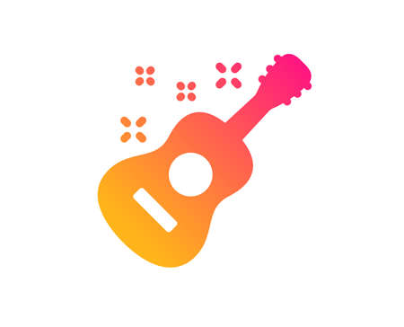 Acoustic guitar icon. Music sign. Musical instrument symbol. Classic flat style. Gradient guitar icon. Vector
