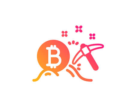 Bitcoin mining icon. Cryptocurrency coin sign. Crypto money pickaxe symbol. Classic flat style. Gradient bitcoin mining icon. Vector