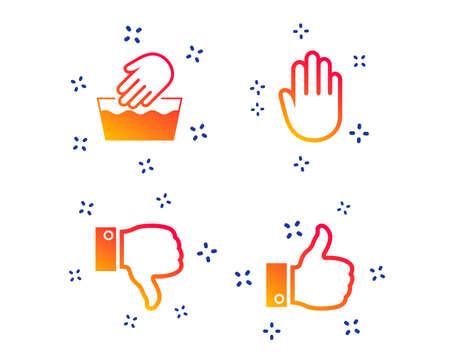Hand icons. Like and dislike thumb up symbols. Not machine washable sign. Stop no entry. Random dynamic shapes. Gradient hand icon. Vector Ilustração