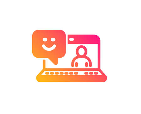 Smile laptop icon. Positive feedback rating sign. Customer satisfaction symbol. Classic flat style. Gradient smile icon. Vector Illustration