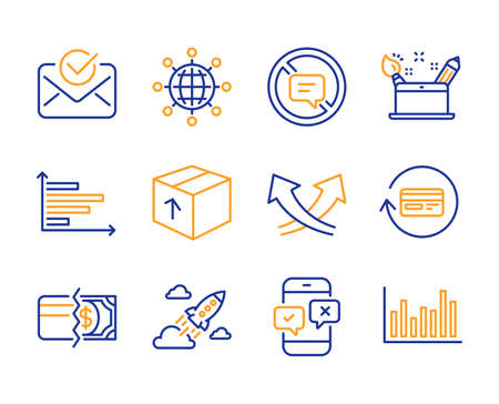 Startup rocket, Phone survey and Approved mail icons simple set. Stop talking, Package and Refund commission signs. Payment methods, International globe and Creativity concept symbols. Vector Illusztráció