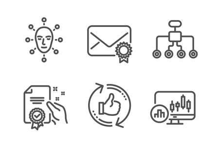 Refresh like, Face biometrics and Restructuring icons simple set. Certificate, Verified mail and Candlestick chart signs. Thumbs up counter, Facial recognition. Technology set. Line refresh like icon
