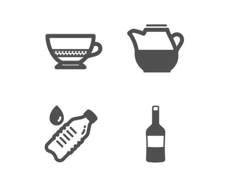 Set of Water bottle, Milk jug and Bombon coffee icons. Wine sign. Still drink, Fresh drink, Cafe bombon. Merlot bottle.  Classic design water bottle icon. Flat design. Vector Illustration