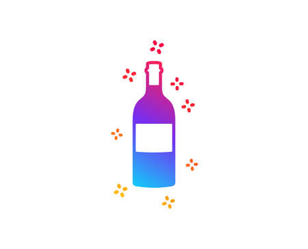 Wine bottle icon. Merlot or Cabernet Sauvignon sign. Dynamic shapes. Gradient design wine bottle icon. Classic style. Vector Illustration