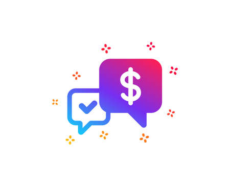 Payment receive icon. Dollar exchange sign. Finance symbol. Dynamic shapes. Gradient design payment received icon. Classic style. Vector Illustration