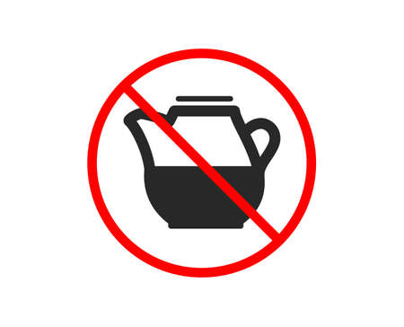 No or Stop. Milk jug for coffee icon. Fresh drink sign. Beverage symbol. Prohibited ban stop symbol. No milk jug icon. Vector Illustration