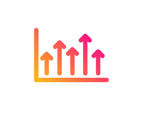 Growth chart icon. Financial graph sign. Upper Arrows symbol. Business investment. Classic flat style. Gradient growth chart icon. Vector