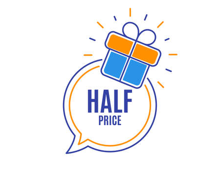 Half Price. Special offer Sale sign. Advertising Discounts symbol. Loyalty sale tag. Speech bubble banner. Gift box badge. Vector