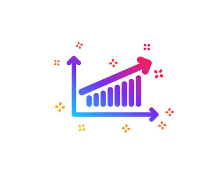Chart icon. Report graph or Sales growth sign. Analysis and Statistics data symbol. Dynamic shapes. Gradient design chart icon. Classic style. Vector