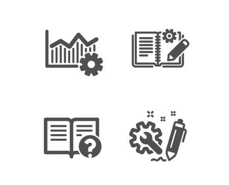 Set of Operational excellence, Help and Engineering documentation icons. Engineering sign. Corporate business, Documentation, Manual. Construction.  Classic design operational excellence icon. Vector