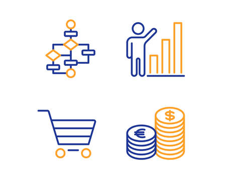 Market sale, Graph chart and Block diagram icons simple set. Currency sign. Customer buying, Growth report, Algorithm path. Euro and usd. Finance set. Linear market sale icon. Colorful design set